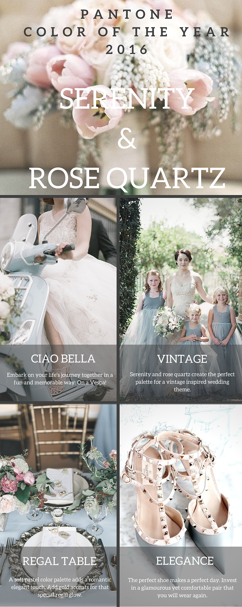 Serenity and Rose Quartz Wedding Color Palette 2016