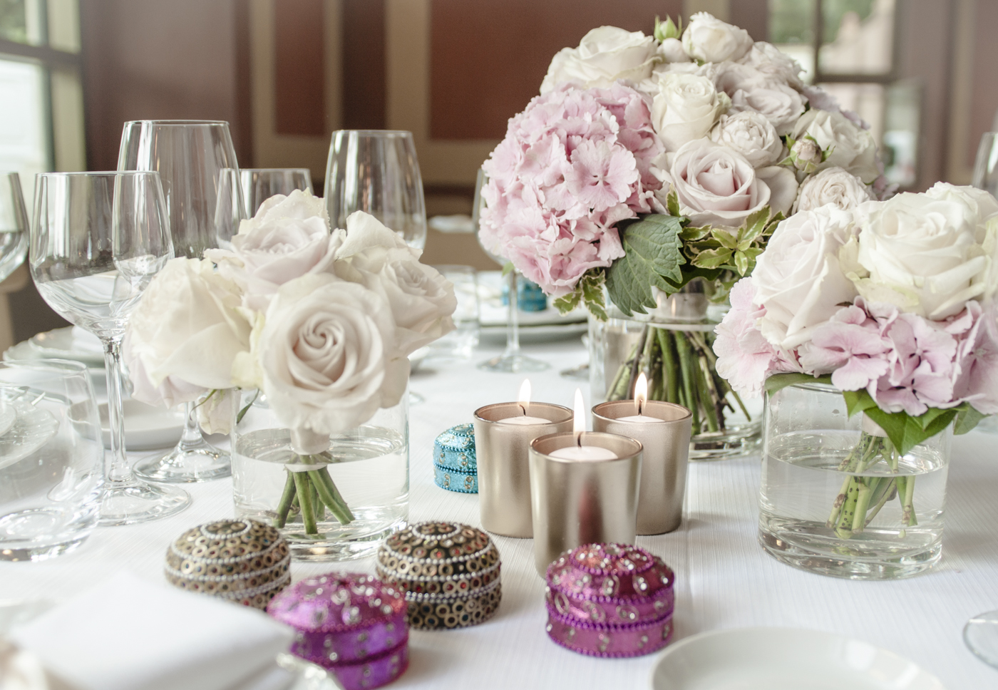 Wedding Flower Roses And Hydrangeas White And Pale Pink Wedding